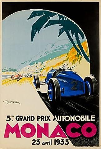 Monaco Grand Prix 1933 Vintage Poster (artist: Geo Ham) Monaco c. 1933 (16x24 Collectible Giclee Gallery Print, Wall Decor Travel (Geo Press)