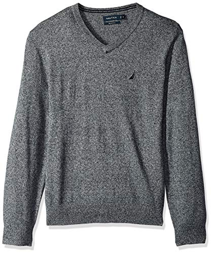 - Nautica Men's Long Sleeve Solid Classic V-Neck Sweater, Estate Blue, XX-Large