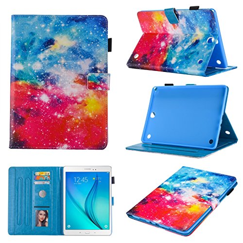 Uliking Galaxy Tab A 8.0 (T350) 2015 Case, Bling Spark PU Leather Wallet [Auto Wake/Sleep] Magnetic Flip Stand TPU Cover with Card Pencil Holder for Samsung Tab A 8.0 SM-T350/P350 2015,Starry Sky]()