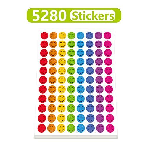 Smiley Face Smile - Happy Smile Face Stickers Mega Bundle 5280 PCS in 8 Colors for Reward Behavior Chart 3/8 inch