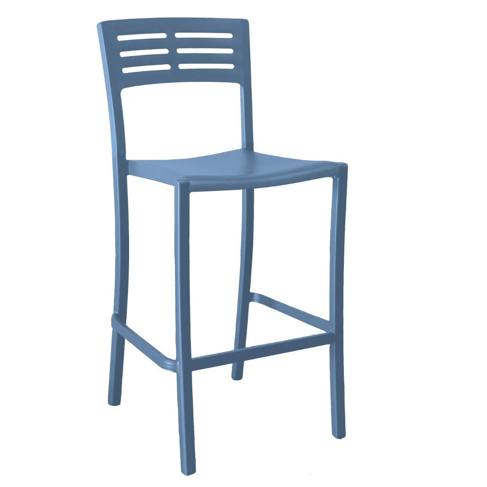 Grosfillex US638680 Vogue Stacking Barstool, Armless, Denim Blue (Case of 8)