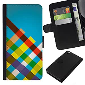 JackGot ( Rayas del arco iris ) HTC DESIRE 816 la tarjeta de Crédito Slots PU Funda de cuero Monedero caso cubierta de piel
