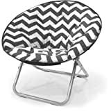 225 lbs Capacity Saucer Folding Chair Plush Chevron in Black