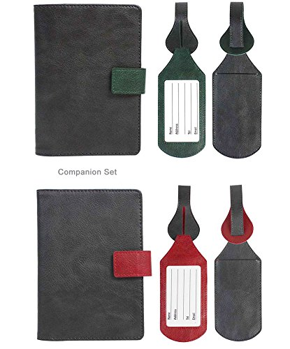 His & Hers Synthetic RFID Blocking Passport Case with Pen Holder and 2 Matching Luggage Tags (Grey/Green Grey/Red)