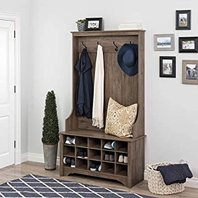 "Prepac  Shoe Storage Hall Tree, Drifted Gray - Assembled dimensions: 38"" W x 68"" H x 15. 5"" D 4 strong double coat hooks 15 shoe cubbies (dimensions for each cubbie 6. 5"" W x 4. 75"" H x 14"" D ) - hall-trees, entryway-furniture-decor, entryway-laundry-room - 51BhPf1m7WL. SS400  -"