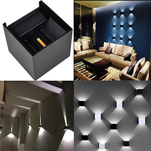 LED Aluminum Waterproof Wall Lamp ,12W 85-225V 3200K Adjustable Outdoor Wall Light White Light 2 LEDS (Black-white light)