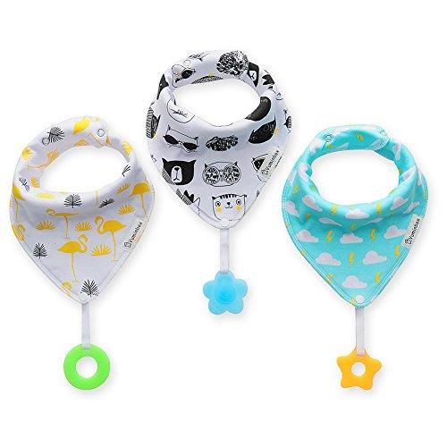 Baby Bandana Bibs Set 3-Pack Super Teething Absurbent Drool Bandana Bibs 100% Organic Cotton (Black)