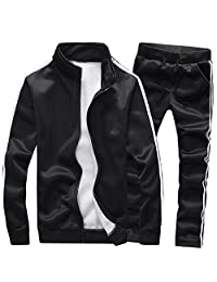 Sun Lorence Men's Athletic Full Zip Fleece Tracksuit ...  |Athletic Tracksuits