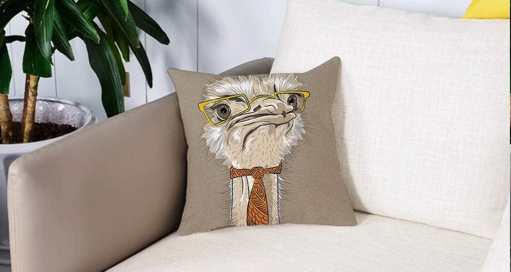 Pillow Case Cojín Cuadrado Print,Indie, Retrato de boceto del divertido pájaro de avestruz moderno con anteojos amarillos y corAdecuado para Oficina, Familia, automóvil, cafetería, Tienda, 45x45cm