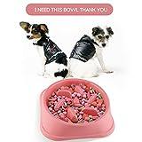 pink slow feed dog bowl - Slow Feeder Dog Bowl - Fun Feeder Slow Feed Interactive Bloat Stop Dog Bowl for Pets Health Bloat Stop Anti-Choking