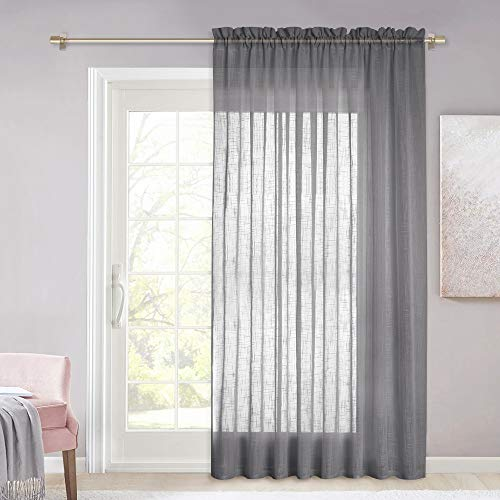 NICETOWN Elegant Large Window Curtain - Semi Voile Linen Look Sheer Curtain for Countryside and Casual Style Home Decor, Dark Grey, 1 PC, 100W x 84L (Door Style Curtains Patio Country)