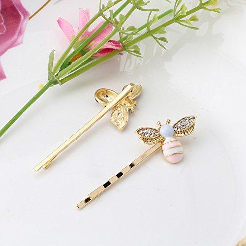 Pyrsun(TM) Rhinstones Headwear Fashion Hair Accessories Girls Hairpins Wave Women Hair Clips Female Bee Shape Metal Insect Barrettes