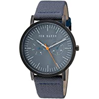 Ted Baker Men's 'BRIT' Quartz Stainless Steel and Leather Casual Watch, Color:Grey (Model: TE50274004)