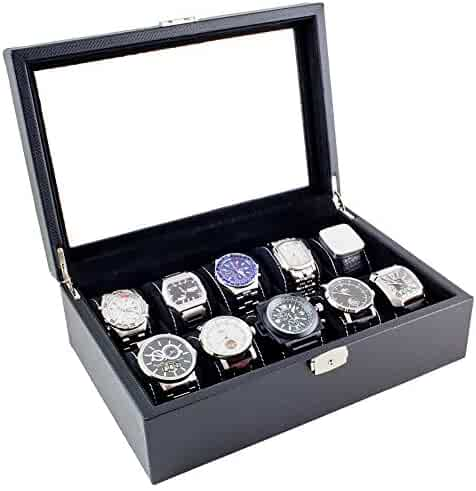 Caddy Bay Collection Black Carbon Fiber Glass Top Watch Case Holds 10 Large Watches… (Black)