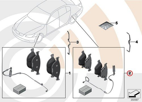 BMW Genuine Rear Set Of Brake Pads With Wear Sensors E60 E60N E61 E61N 525i 525xi 530i 530xi 528i 528xi 535xi 530xi 535xi