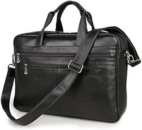 Texbo Men's Large Leather Briefcase Shoulder Messenger Bag Fit 17 Inch Laptop Tote