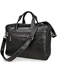 Texbo Mens Large Leather Briefcase Shoulder Messenger Bag Fit 17 Inch Laptop Tote (Black)