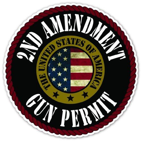 Vintage Flag Round Sticker - Cool Round Design 2nd Amendment Gun Permit Vintage US Flag Vinyl Decal Bumper Sticker 5 Inches X 5 Inches