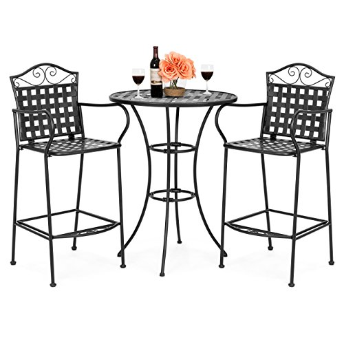 Best Choice Products 3-Piece Woven Pattern Wrought Iron Patio Bar Height Bistro Table Set w/2 Chairs - Black (Iron Table Outdoor Wrought)