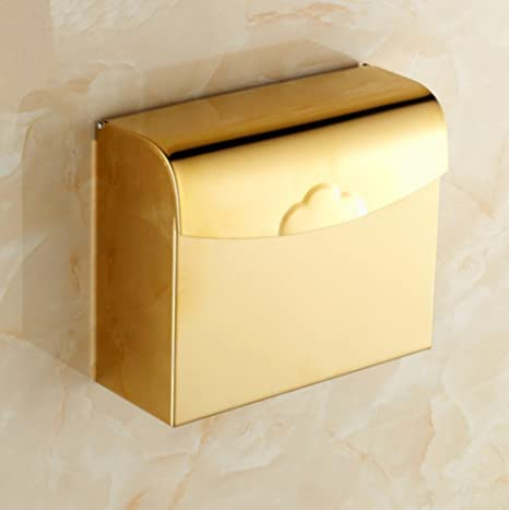 GH&B Golden Toilet Paper Holder Soporte de rollo montado en la pared Baño Roll Holder Acero