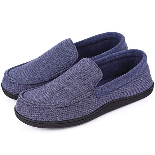 HomeTop Men's Comfort Memory Foam Moccasin Slippers Breathable Cotton Knit House Shoes w/Anti-Skid Rubber Sole (12 D(M) US, Demin Blue)