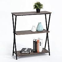 Lillyarn 3-Tier Book Shelves Wood Bookcase, Vintage Industrial Metal 3 Shelf Storage Display Rack, Dark Brown/Black