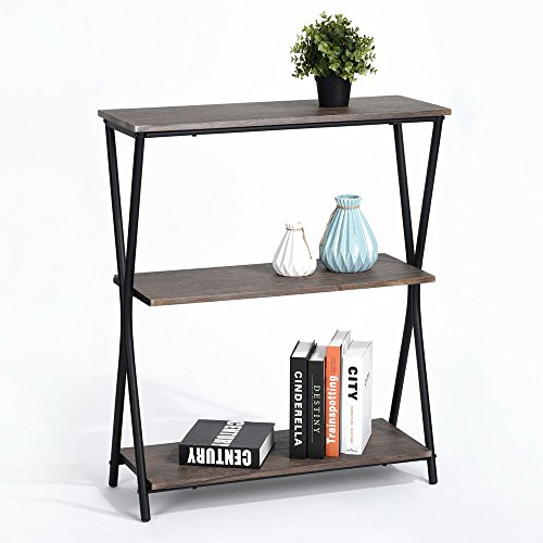 Lillyarn 3-Tier Book Shelves Wood Bookcase, Vintage Industrial Metal 3 Shelf Storage Display Rack, Dark Brown/Black