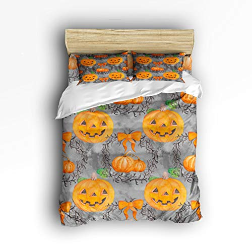 EZON-CH 4 Piece Bed Sheets Set, Halloween Pumpkin Smiley Face 1 Flat Sheet 1 Duvet Cover and 2 Pillow Cases Full