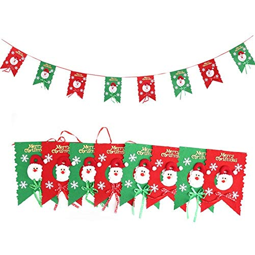 Christmas Merry Fabric (Merry Christmas Banner, 10ft Non-Woven Fabric Christmas Hanging Flag with Words, Tree, Reindeer for Home Party Festival Ornaments (Santa Claus))