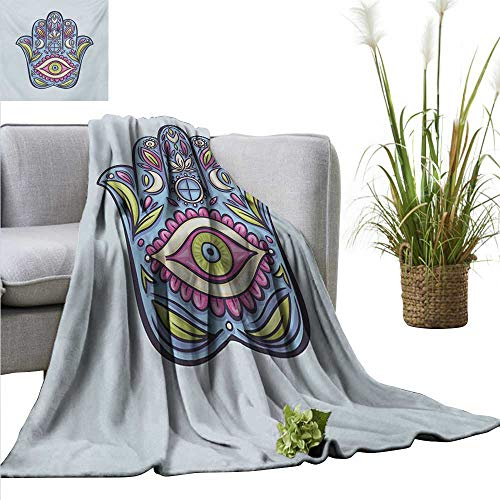 - Summer Blanket Evil Eye,Doodle Hamsa Hand Symbol Traditional All Seeing Eye Positive Colorful,Pale Blue Pink Green Lightweight Breathable Flannel Fabric Machine Washable 60