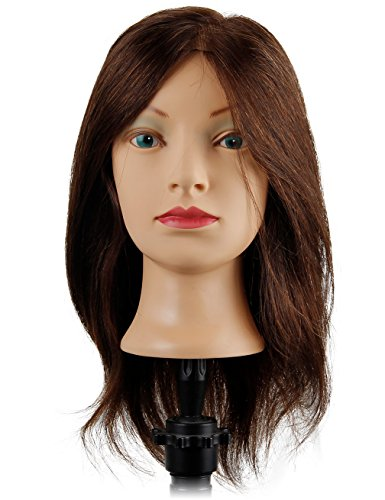 Beauty : Cosmetology Manikin Head with 100% Human Hair Mid-Length Natural Growth Pattern Hair Mannequin Head - Arwen