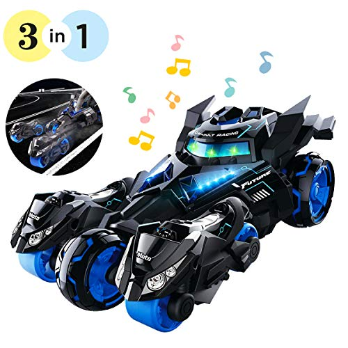 YITOOK Pull Back Vehicles,【Upgraded Version】 3 in 1 Air Pull Back Car Toys Friction Powered Vehicles Include 2 Motocycles with Fun Lights & Sounds Gifts for Children Kids Boys Girls (Black)]()