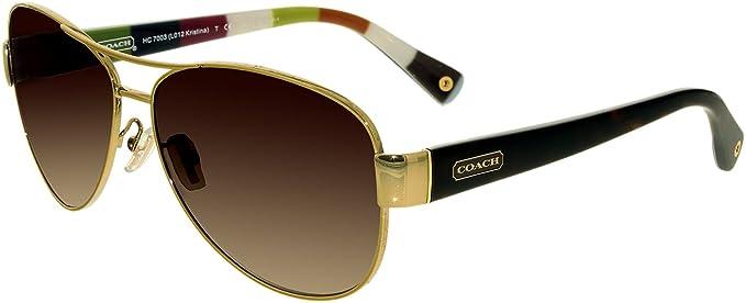 3596749265d3c ... closeout coach hc 7003 l012 kristina 9013 13 gold brown aviator  sunglasses 93360 72513