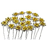Contever Elegant 1 Set of 20pcs Wedding Bridal Party Artifical Diamante Rhinestone and Prom Flower Hair Pins Clips Grips Pins Hairpins Bridesmaid Clips - Golden
