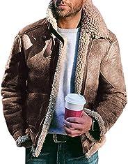 Manooby Men's Fleece Fur Coat Short-length Coat Lapel Collar Long Sleeve Warm Coat Men'