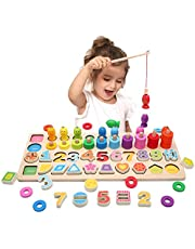Wooden Number Puzzles for Toddlers Kids, ABC Alphabet & Number Puzzle Board, Stacking Rings Toys, Math Counting Blocks Shape Sorter Early Educational Learning Wood Jigsaw Board Montessori Toys for Boys Girls