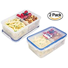 Premium Easy Lock Meal Prep Container (38 oz.); Portion Control; 100% Leakproof Reusable Food Container; Bento Lunch Box; Configurable Compartments (2)