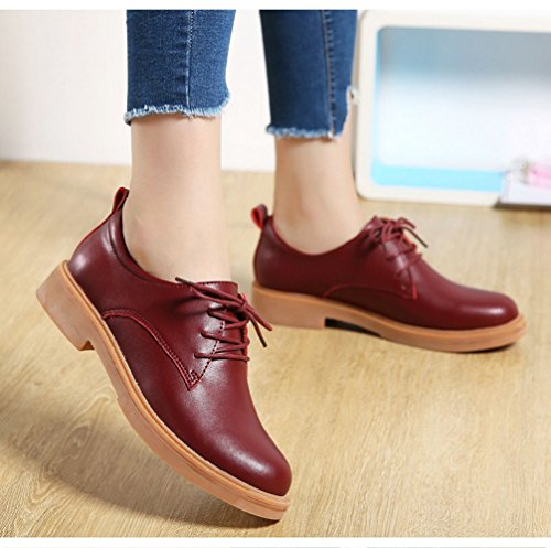 T-july Mujeres Retro Oxfords Zapatos - Classic Lace-up Low Heel Round Toe Zapatos Casuales Borgoña