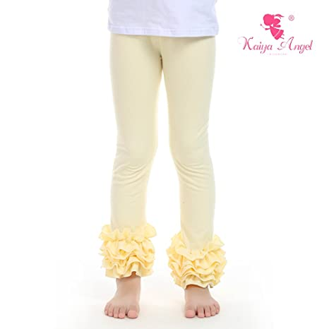 Kaiya Angel Little Girl's Ruffle legging-footless tights (cream) (90)