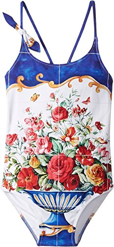 Dolce & Gabbana Kids Baby Girl's Caltagirone Printed Swimsuit (Toddler/Little Kids) Floral Vase Print Swimsuit by Dolce & Gabbana