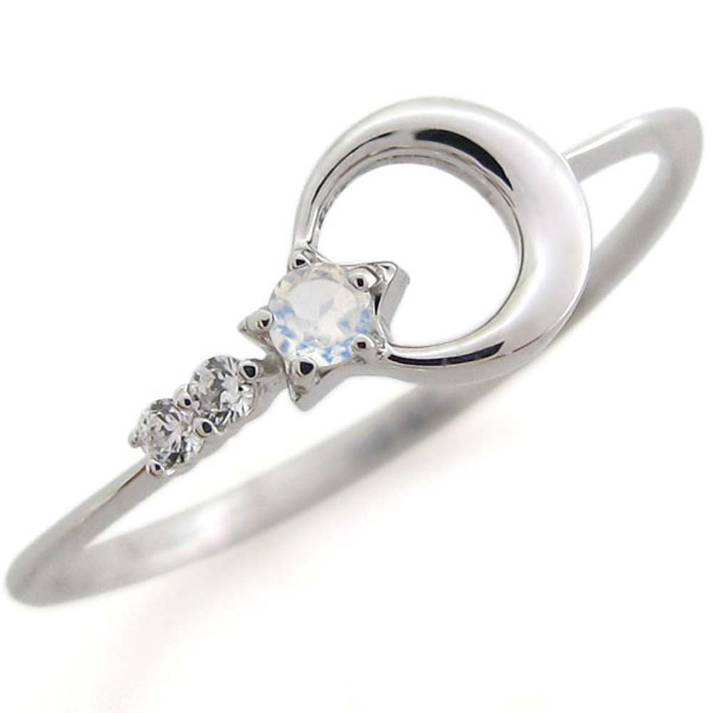 プレジュール 月モチーフ 指輪 ロイヤルブルームーンストーン リング K10ホワイトコーティング 星モチーフ リング リングサイズ6号 B01BZZP92C