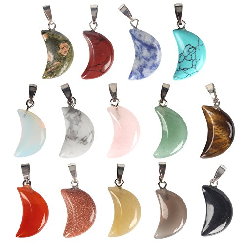 (Wholesale 14 PCS Crescent Moon Shaped Charm Natural Stone Pendant with Silver Plated Brass Bail Chakra Healing Point Reiki Charm Bulk for Jewelry Making)
