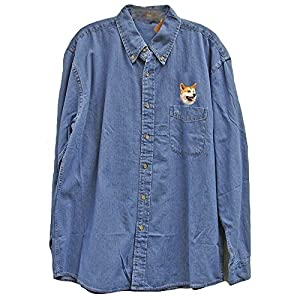 Cherrybrook Denim Dog Breed Embroidered Mens Denim Shirts (All Breeds)