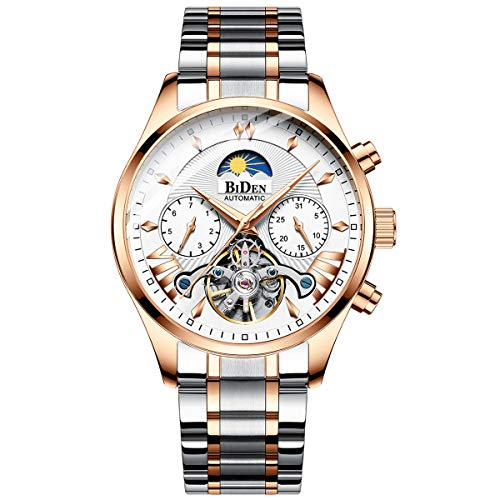 - Luxury Men's Automatic Watches Mechanical and Luminous Skeleton Tourbillon Wristwatch and Waterproof Stainless Steel Bands