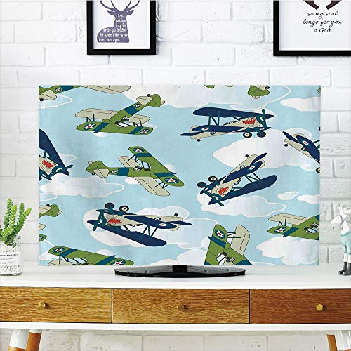 Allied Plastic Table - iPrint LCD TV dust Cover,Airplane Decor,Vintage Allied Plane Flying Pattern Cartoon Children Kids Repeating Toys Shark Teeth Decorative,3D Print Design Compatible 60