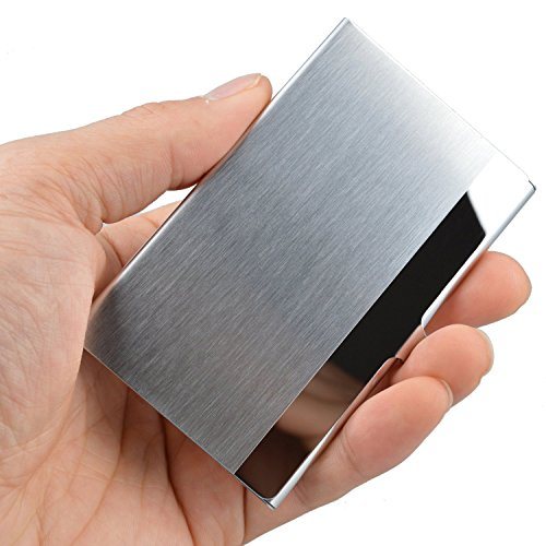 MaxGear Professional Business Card Holder Business Card Case Stainless Steel Card Holder Keep Business Cards in Immaculate Condition NS