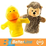 """Image of Better Line Animal Hand Puppets Set Of 2 - Premium Quality, 14"""" Soft Plush Hand Puppets For Kids- Perfect For Storytelling, Teaching, Preschool, Role-Play Hedgehog and Chick Toy Puppets"""