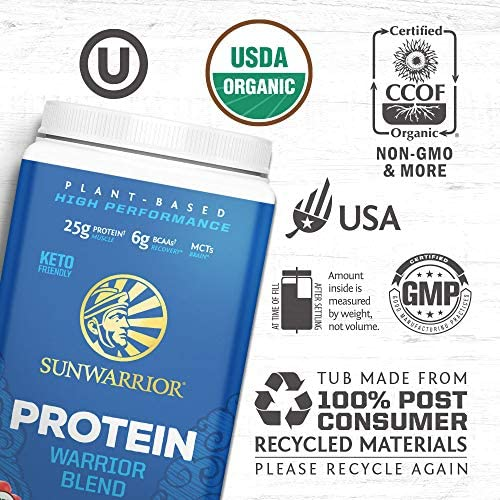 Sunwarrior Warrior Blend, Organic Vegan Protein Powder with BCAAs and Pea Protein: Dairy free, Gluten Free, Soy Free, Non- GMO, Unsweetened protein powder, and Keto Friendly, Vegetarian (Vanilla 750g) 3