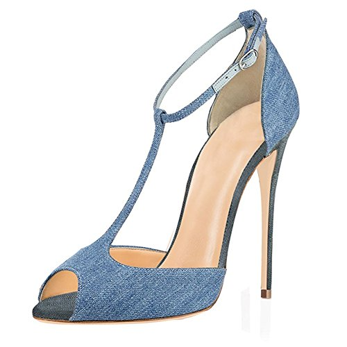 Shoes Peep Wedding Dress Womens Buckle Ankle Toe T Sandals Heel Eldof Denim Pumps strap High 10cm qIwa7O6