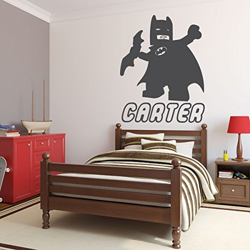 Away Logo Decal (Personalized Wall Decals - Lego Batman with Name Below - Superhero Party Decorations, Kids Bedroom Wall Stickers, DC Comics)